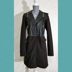 BCBGeneration Black Coat w/ Faux Leather Top